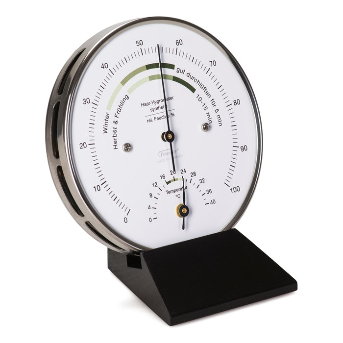 Oostendorp Hygrometer en thermometer met zwart voetstuk
